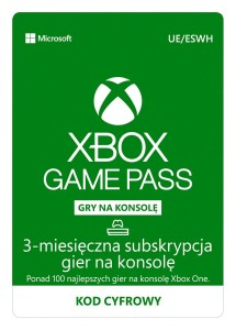 Microsoft Subskrypcja ESD Game Pass Console Retail na 3 miesiące R16